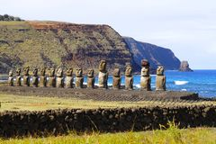 Ahu Tongariki`s moai at Easter Island, Chile royalty free stock image