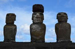 Moais in the ceremonial platform Ahu at Tongariki beach, Rapa Nui Easter island. Ahu Tongariki is the largest ahu on Easter Island. Its moai were toppled during Royalty Free Stock Photography