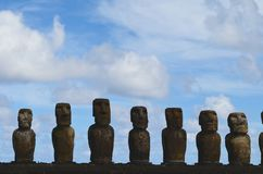 Moais in the ceremonial platform Ahu at Tongariki beach, Rapa Nui Easter island. Ahu Tongariki is the largest ahu on Easter Island. Its moai were toppled during Royalty Free Stock Photos