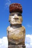 Ahu Tongariki moai with top knot. Easter Island (Rapa Nui) moai of Ahu Tongariki Royalty Free Stock Images