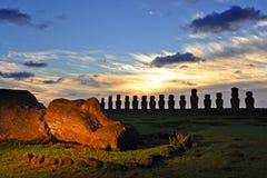 Ahu Tongariki Moais. Moais of Ahu Tongariki at sunrise on Easter Island, Chile Royalty Free Stock Images