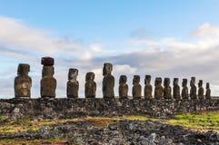 Ahu Tongariki moais w Wielkanocnej wyspie, Chile Obraz Stock