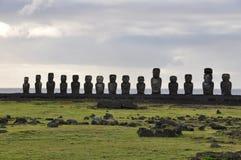 Ahu Tongariki moais w Wielkanocnej wyspie, Chile Obrazy Royalty Free
