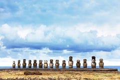 Ahu Tongariki nell'isola di pasqua Fotografia Stock Libera da Diritti