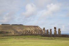 Ahu Tongariki op Pasen-Eiland Stock Afbeeldingen