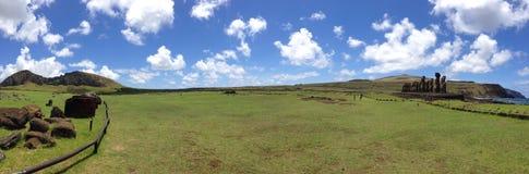 Ahu Tongariki panorama Zdjęcie Stock