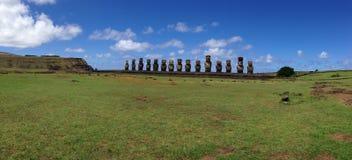 Ahu Tongariki panorama Zdjęcia Stock