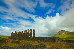 Ahu Tongariki. View of Ahu Tongariki on the back side Royalty Free Stock Images