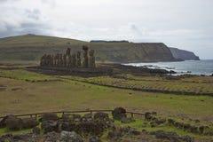 Ahu Tongariki, Wielkanocna wyspa, Chile Obrazy Stock