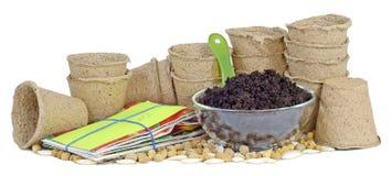 Ahueca los paquetes de la semilla de la turba Fotografía de archivo