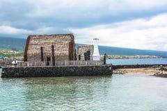 Ahuena Heiau dans Kailua Kona, Hawaï Images libres de droits