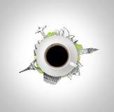 Ahueque el café, que está en el bosquejo de las maravillas del dibujo siete que el mundo aisló, fondo blanco Imagen de archivo libre de regalías