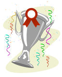 Ahueque el trofeo con una cinta de la sala fijada a ella y al confeti coloreado Fotos de archivo