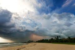 Ahungalla Beach, Sri Lanka - Impressive thunderstorm during suns. Ahungalla Beach, Sri Lanka, Asia - Impressive thunderstorm during sunset at the beach of Stock Photo