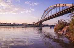 Ahvaz Pole Sefid Bridge. Ahvaz Bridge on Karoon River at Iran Stock Images
