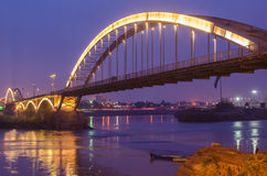 Ahvaz Pole Sefid Bridge. Ahvaz Bridge on Karoon River at Iran Stock Photos