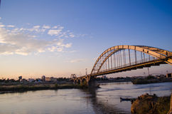 Ahvaz Pole Sefid Bridge. Ahvaz Bridge on Karoon River at Iran Royalty Free Stock Photo