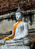 Ahyutthaya Thailand: Buddha på Wat Yai Chai Mongkon Arkivfoto