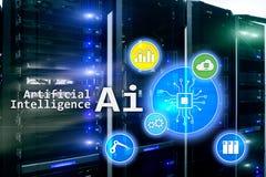 AI、人工智能、自动化和现代信息技术概念在虚屏上 库存例证
