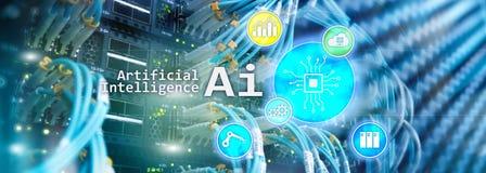 AI、人工智能、自动化和现代信息技术概念在虚屏上 库存图片