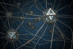 AI和纳诺技术概念 3D回报了人工神经网络的例证 免版税库存照片