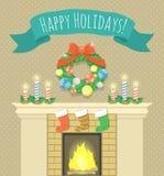 ai背景动画片圣诞节夫妇eps8文件壁炉格式例证结构树向量 免版税库存图片