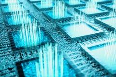 AI - концепция C.P.U. искусственного интеллекта Машинное обучение C.P.U. на доске со следами зарева Предпосылка научная бесплатная иллюстрация