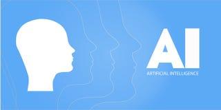 AI, τεχνητή νοημοσύνη, βαθιά εκμάθηση και μελλοντικό σχέδιο έννοιας τεχνολογίας - διανυσματική απεικόνιση AI - Τεχνητό Intelligen Διανυσματική απεικόνιση
