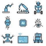 AI автоматизировал набор иллюстрации дизайна вектора значка системы робота бесплатная иллюстрация