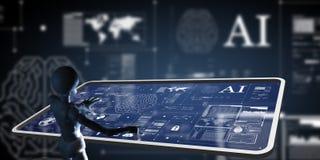 AI, искусственный интеллект работая на экране mornitor высок-техника стоковое фото rf
