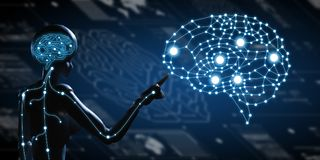 AI, искусственный интеллект схематический techno следующего поколени иллюстрация штока