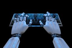 Ai уча руки робота концепции печатая на клавиатуре, кнопочной панели Робототехнический киборг руки используя компьютер 3d предста иллюстрация вектора