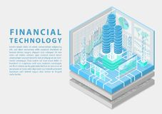 Financial technology concept with stacks of virtual dollars and data flow of transactions as isometric vector illustration stock illustration