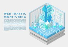 Web traffic monitoring concept with symbol of floating upload and download arrows and various monitoring dashboards stock image