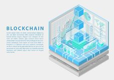Blockchain concept with symbol of floating blocks as isometric 3d vector illustration stock image