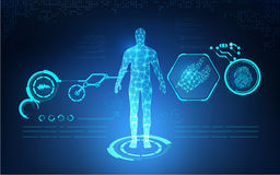 AI Abstract technological health care; science blue print; scientific interface; futuristic backdrop; digital blueprint of human;. Abstract technological health