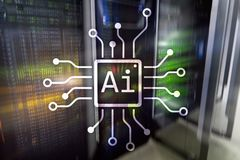 AI, Artificial intelligence, automation and modern information technology concept on virtual screen. AI, Artificial intelligence, automation and modern Royalty Free Stock Image