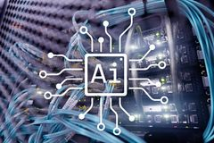 AI, Artificial intelligence, automation and modern information technology concept on virtual screen Stock Photos