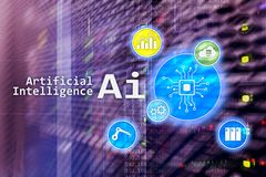 AI, Artificial intelligence, automation and modern information technology concept on virtual screen royalty free stock photos