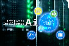 AI, Artificial intelligence, automation and modern information technology concept on virtual screen.  Royalty Free Stock Photo