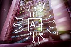 AI, Artificial intelligence, automation and modern information technology concept on virtual screen royalty free stock image