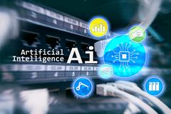 AI, Artificial intelligence, automation and modern information technology concept on virtual screen.  royalty free stock photography