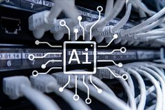 AI, Artificial intelligence, automation and modern information technology concept on virtual screen stock image