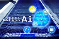 AI, Artificial intelligence, automation and modern information technology concept on virtual screen.  royalty free stock images
