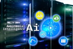AI, Artificial intelligence, automation and modern information technology concept on virtual screen stock illustration
