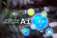 AI, Artificial intelligence, automation and modern information technology concept on virtual screen.  stock image