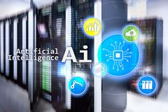 AI, Artificial intelligence, automation and modern information technology concept on virtual screen royalty free stock images
