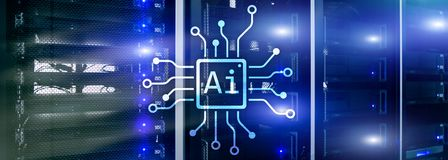 AI, Artificial intelligence, automation and modern information technology concept on virtual screen.  stock photo