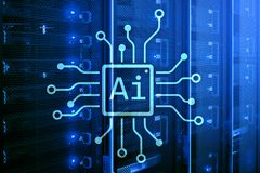 AI, Artificial intelligence, automation and modern information technology concept on virtual screen stock photography