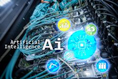 AI, Artificial intelligence, automation and modern information technology concept on virtual screen. AI, Artificial intelligence, automation and modern royalty free stock images